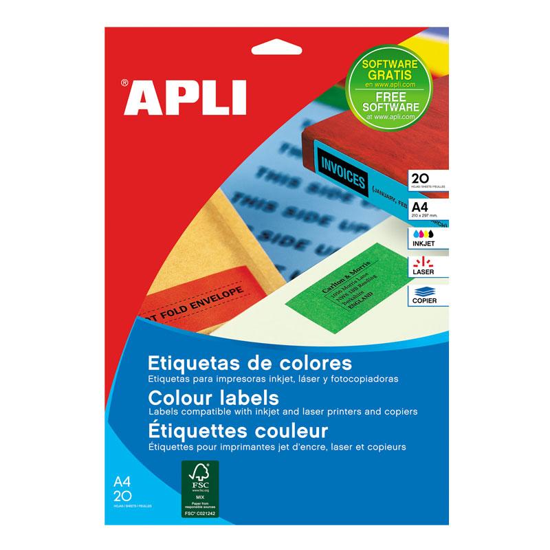 Etiketid Apli ILC iseliimuvad 210 x 297mm 20l/pk roheline